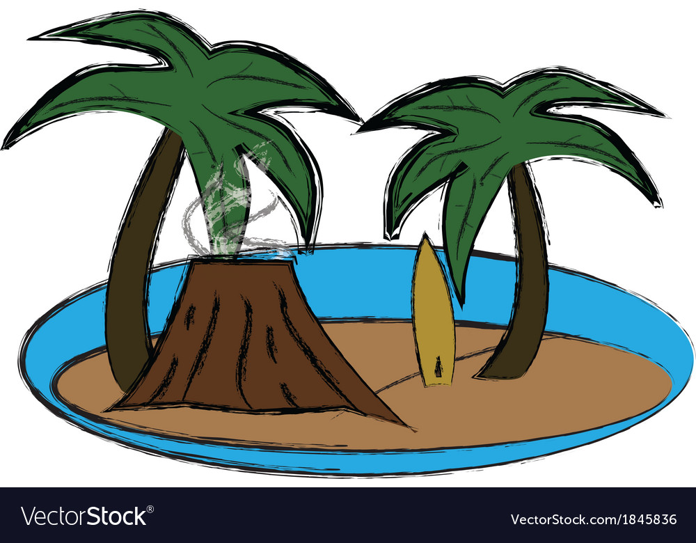 Vulcano and palms vector | Price: 1 Credit (USD $1)