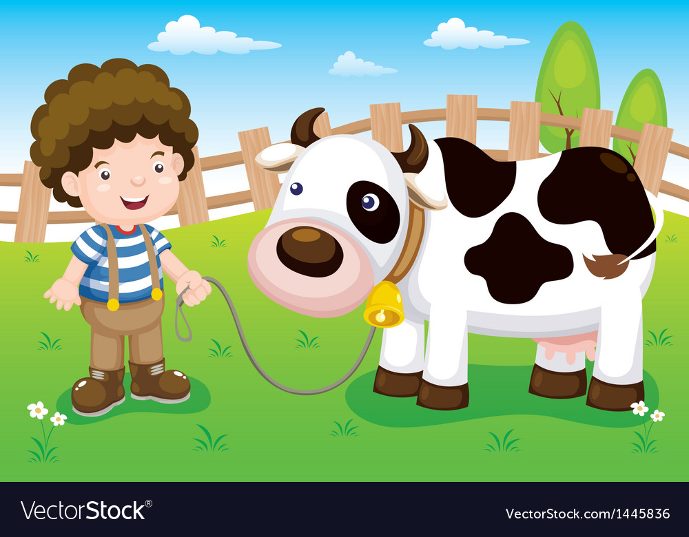 Young cattle and cow in farm vector | Price: 1 Credit (USD $1)