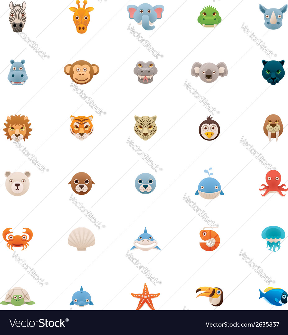Animals icon set part two vector | Price: 1 Credit (USD $1)