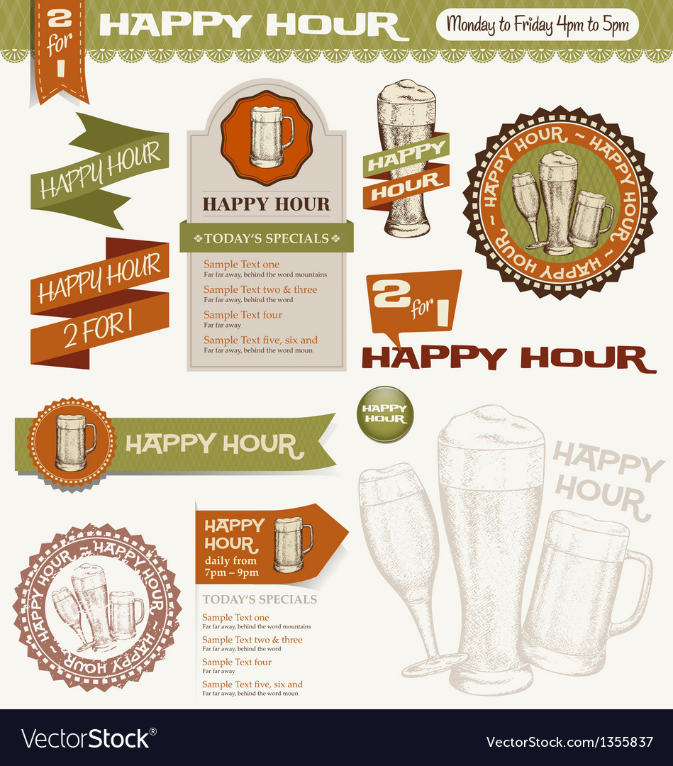 Beer happy hour design elements vector | Price: 1 Credit (USD $1)
