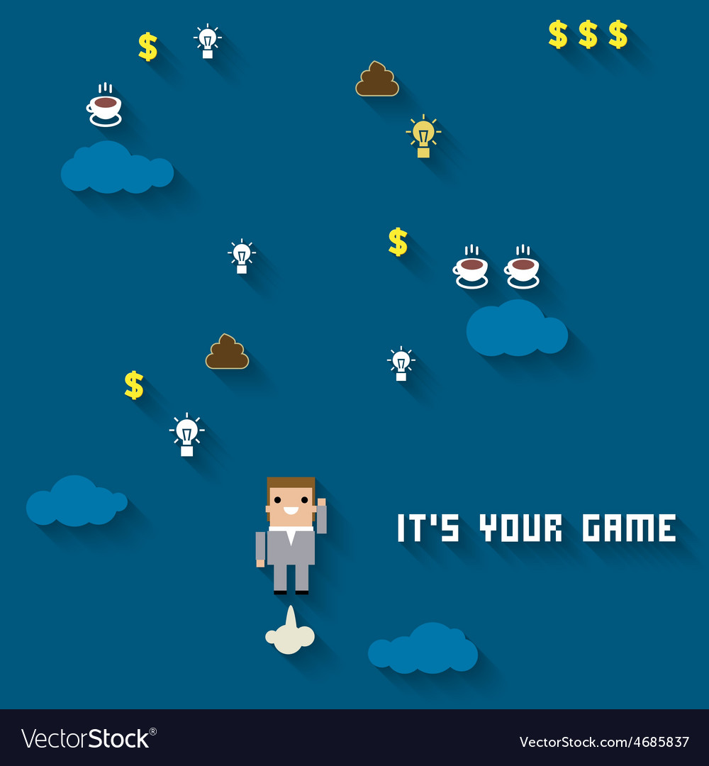 Business like a game on blue vector | Price: 1 Credit (USD $1)