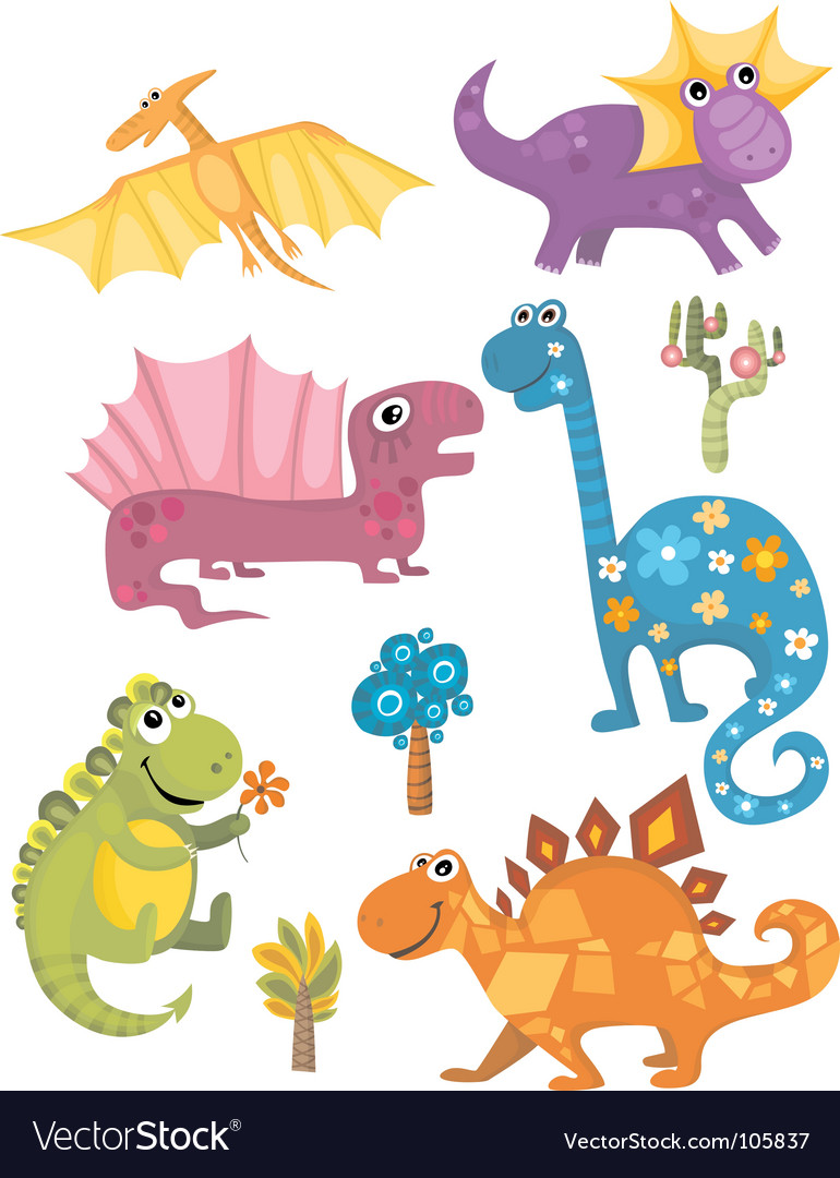 Dinosaur set vector | Price: 3 Credit (USD $3)