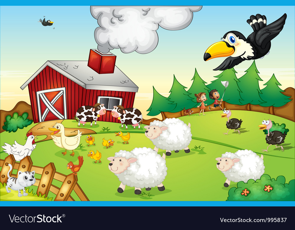 Farm scene vector | Price: 3 Credit (USD $3)