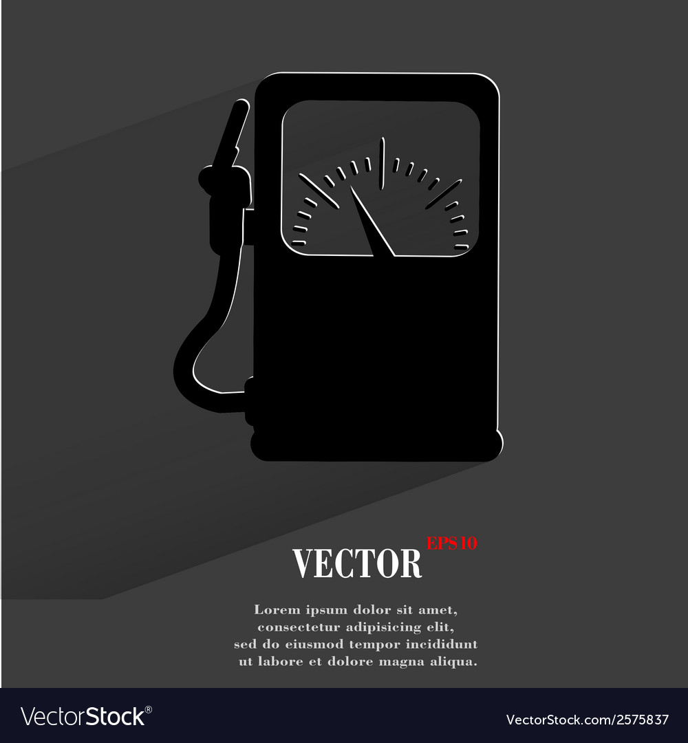 Gas fuel station flat modern web button with long vector | Price: 1 Credit (USD $1)