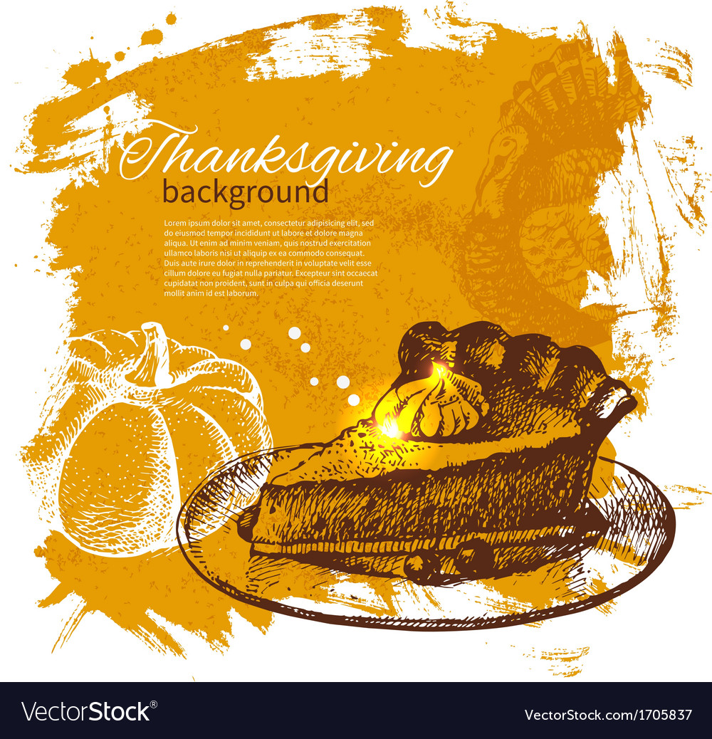 Hand drawn vintage thanksgiving day background vector | Price: 1 Credit (USD $1)