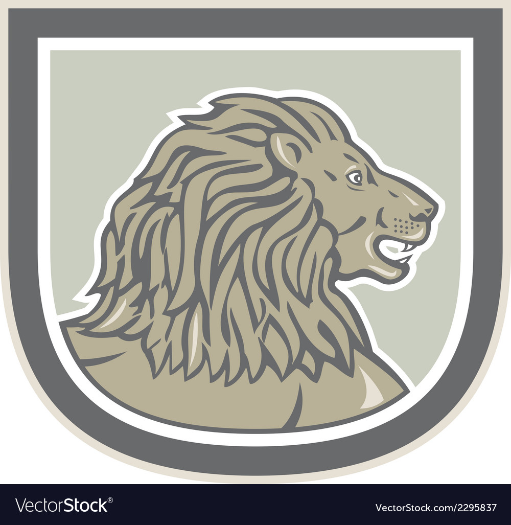 Lion big cat head side shield vector | Price: 1 Credit (USD $1)