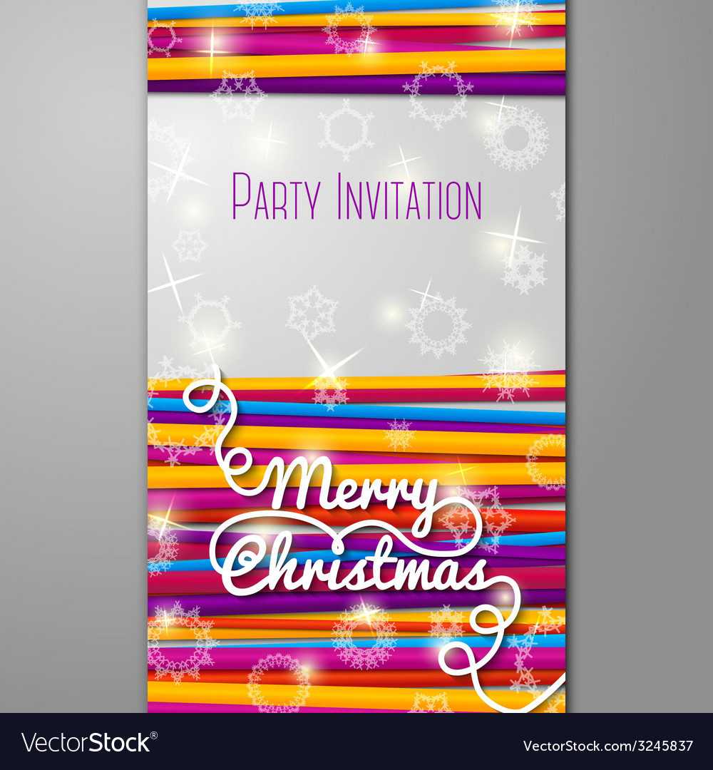 Merry christmas party invitation - bright laces on vector | Price: 1 Credit (USD $1)