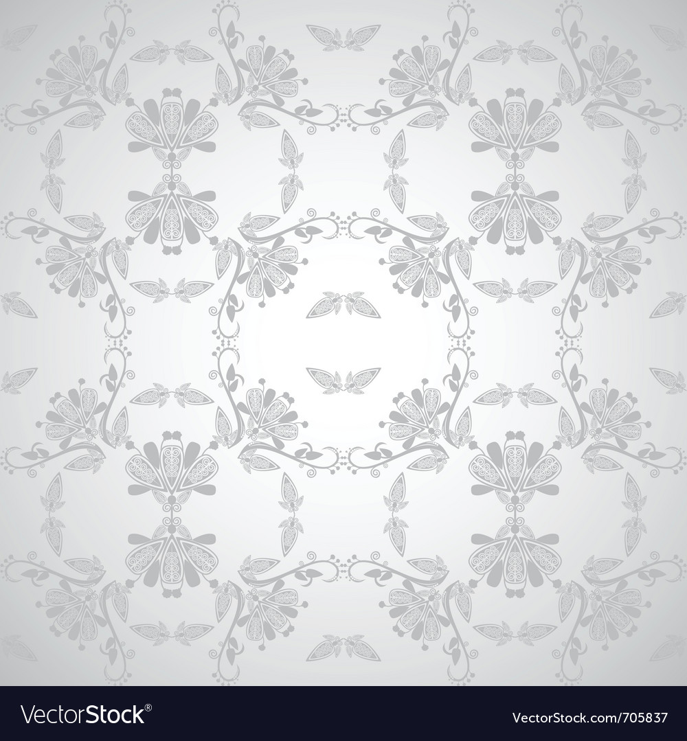 Seamless floral design grey vector | Price: 1 Credit (USD $1)