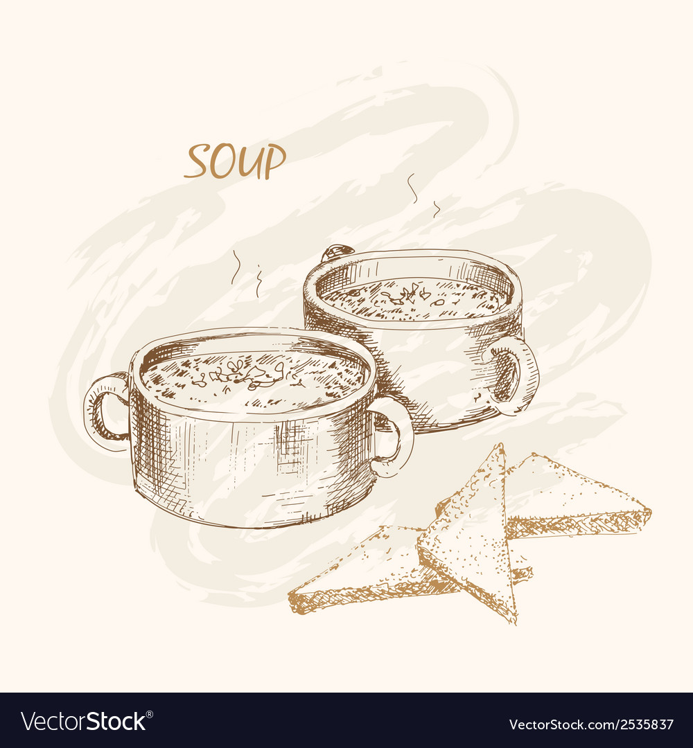 Soup and bread vector | Price: 1 Credit (USD $1)