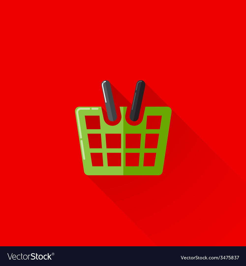 Vintage of a shopping basket in flat style with vector | Price: 1 Credit (USD $1)