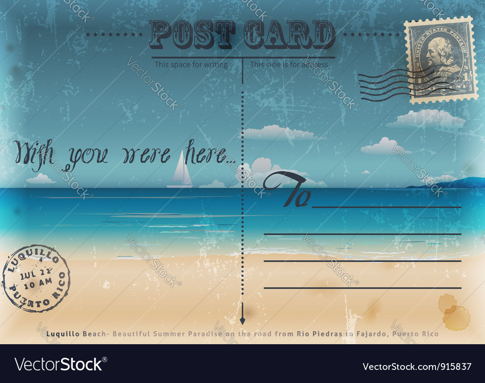 Vintage summer vacation postcard vector | Price: 1 Credit (USD $1)