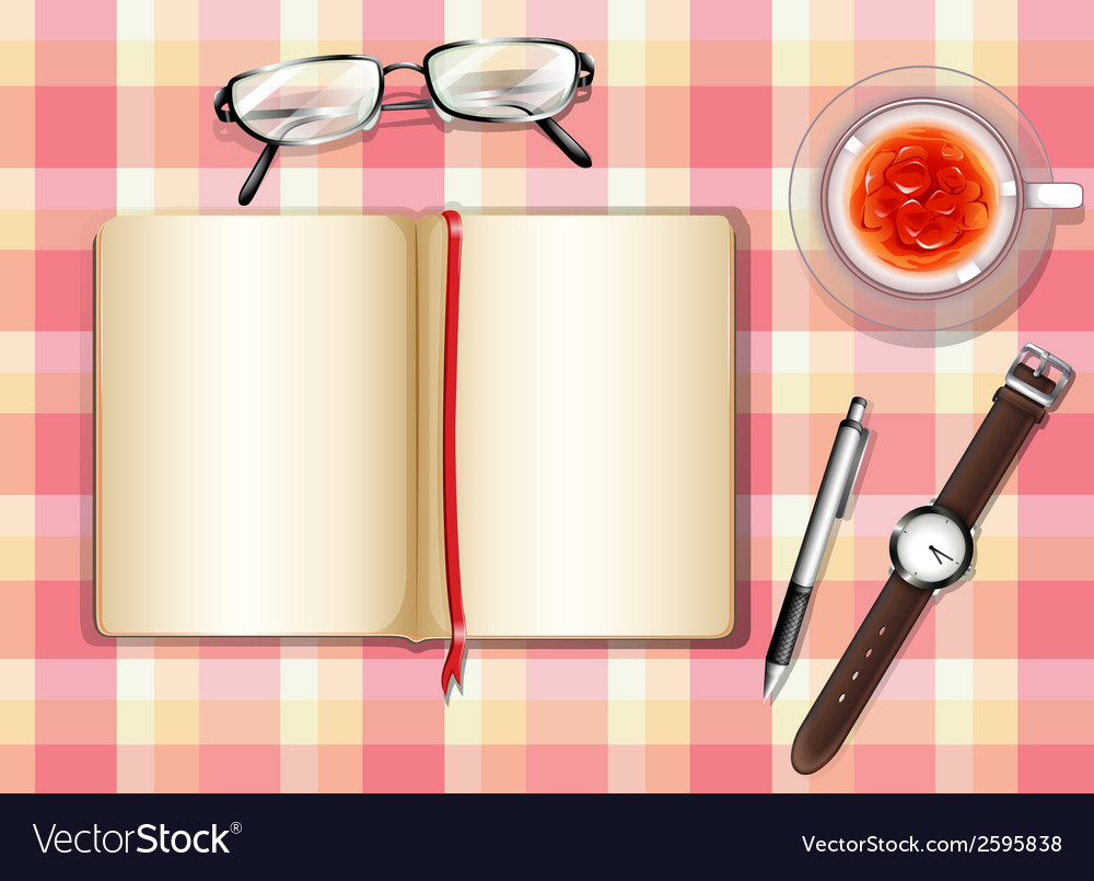 A topview of a table with different objects vector | Price: 1 Credit (USD $1)