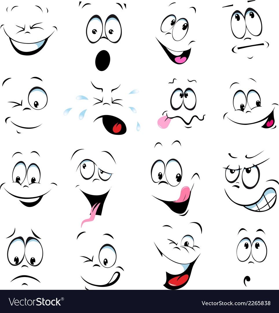 Cartoon faces on a white background vector | Price: 1 Credit (USD $1)