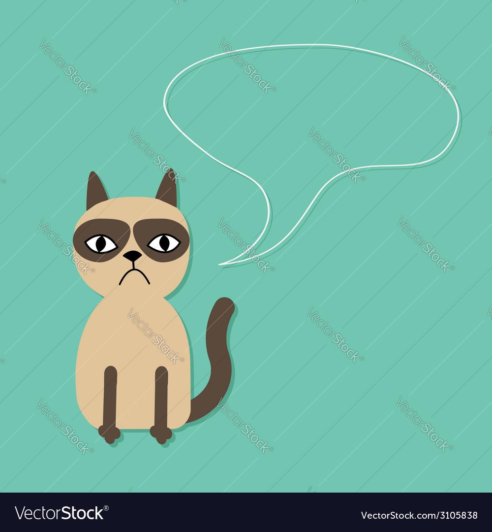 Cute sad grumpy siamese cat and speech bubble vector | Price: 1 Credit (USD $1)