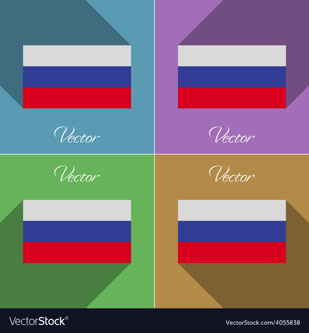 Flags russia set of colors flat design and long vector | Price: 1 Credit (USD $1)