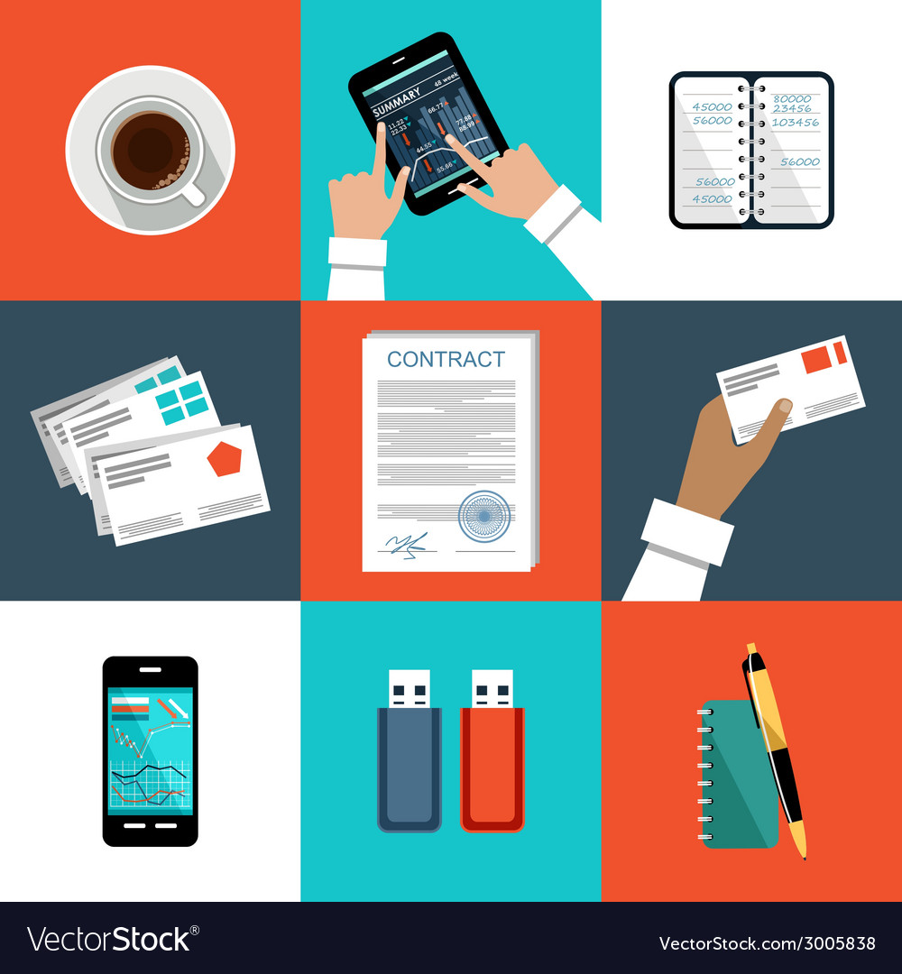 Image of the set of office things vector | Price: 1 Credit (USD $1)