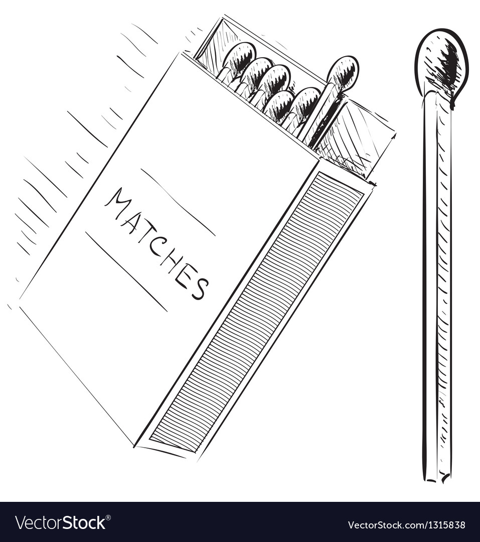 Matches and box sketch doodle icon vector | Price: 3 Credit (USD $3)