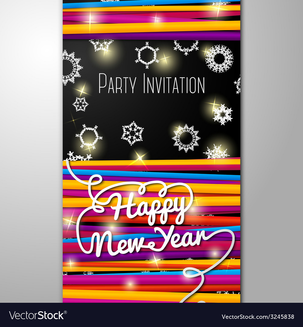 New year party invitation - bright laces on black vector | Price: 1 Credit (USD $1)