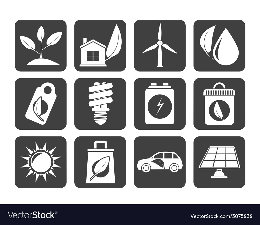 Silhouette green and environment icons vector | Price: 1 Credit (USD $1)