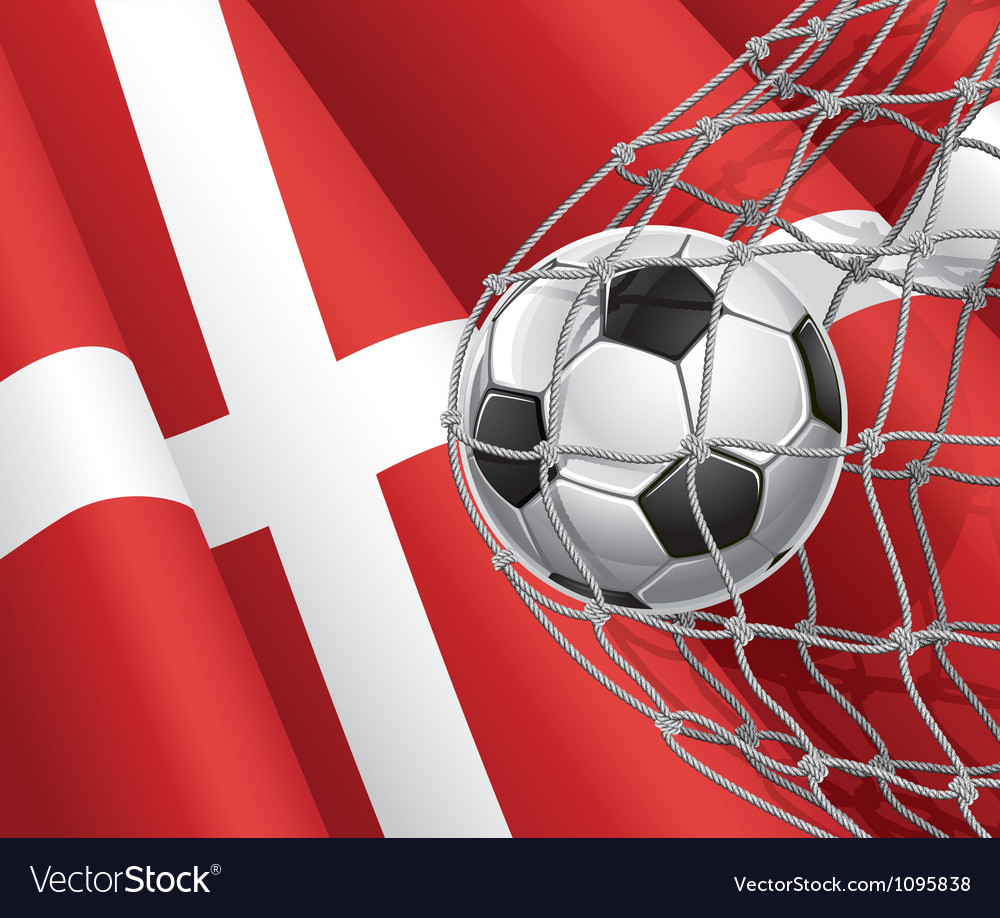 Soccer goal and denmark flag vector | Price: 1 Credit (USD $1)