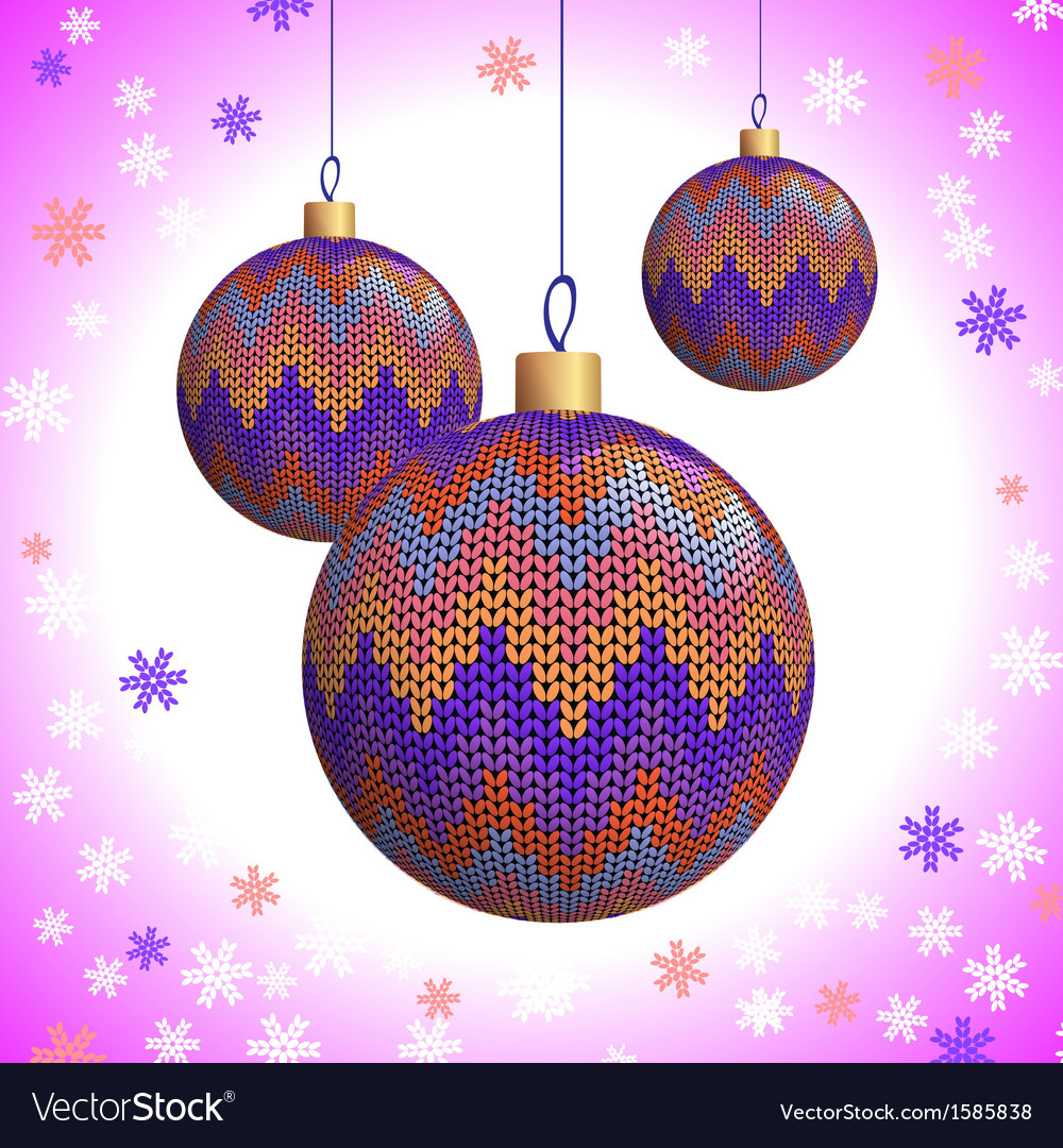 Three knitted christmas balls vector | Price: 1 Credit (USD $1)