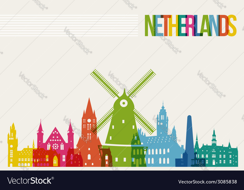 Travel netherlands destination landmarks skyline vector | Price: 1 Credit (USD $1)