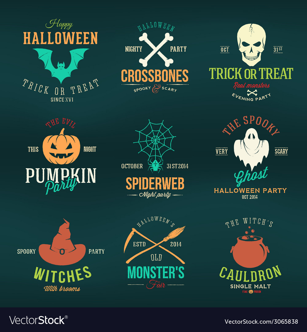 Vintage typography halloween color badges or logos vector | Price: 1 Credit (USD $1)