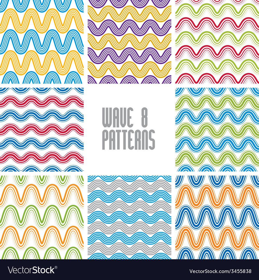 Waves seamless patterns set colorful geometric vector | Price: 1 Credit (USD $1)