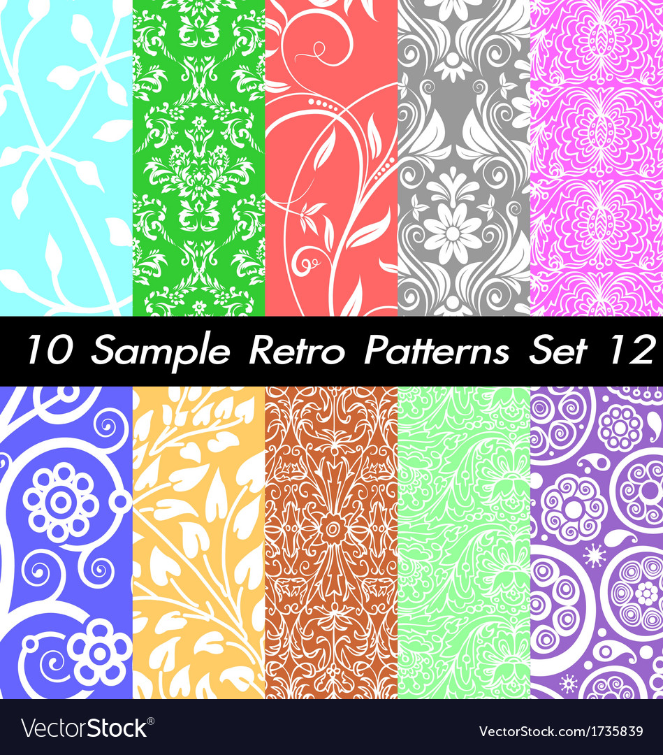 10 retro patterns textures set 12 vector | Price: 1 Credit (USD $1)
