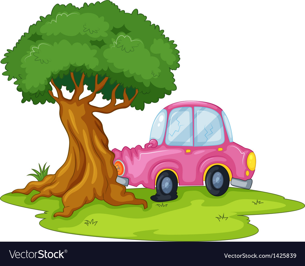 A pink car bumping the giant tree vector | Price: 1 Credit (USD $1)