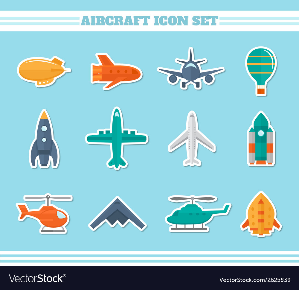Aircraft icons stickers vector | Price: 1 Credit (USD $1)
