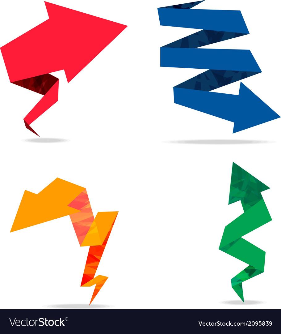 Arrow origami colorfull vector
