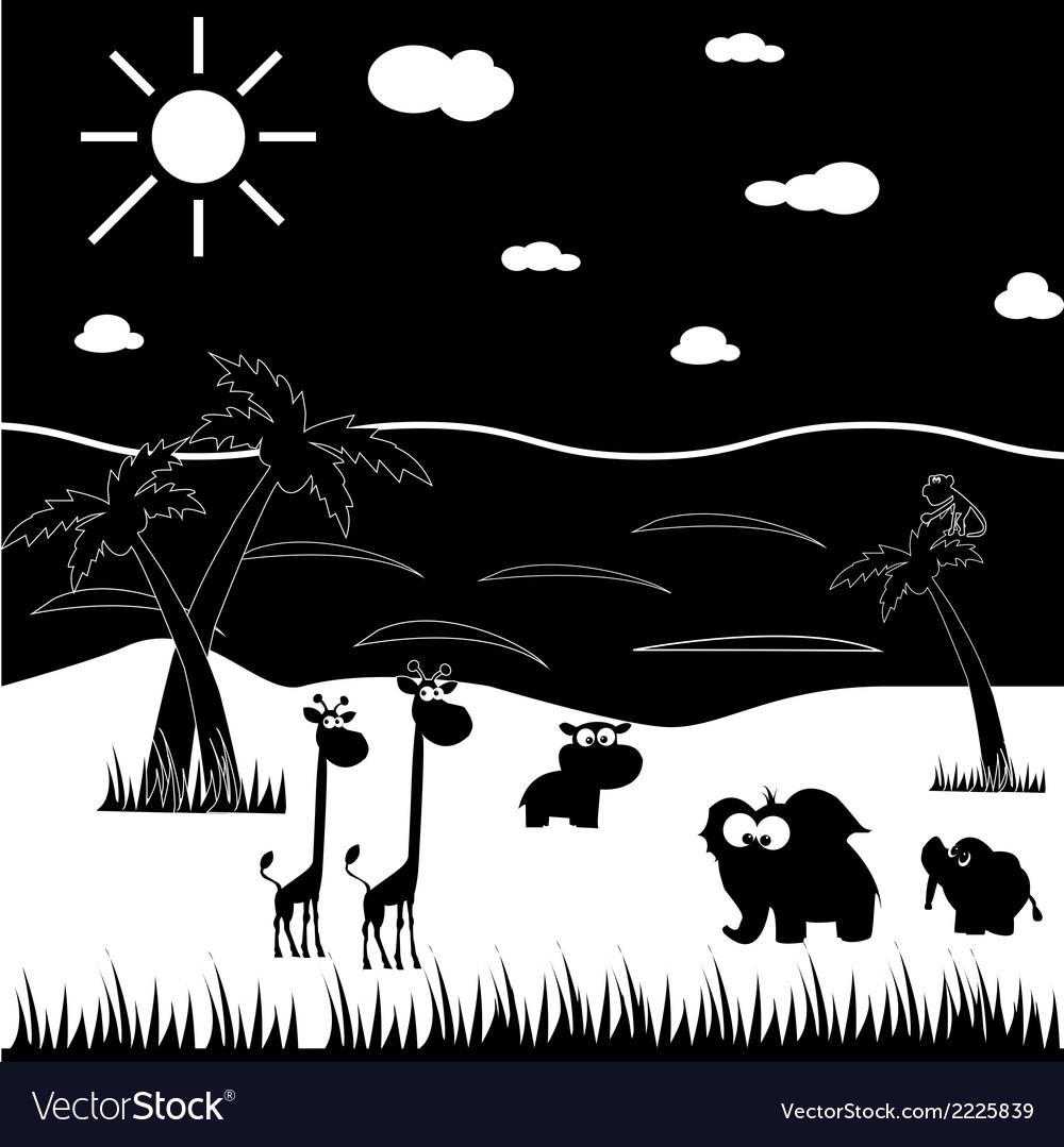 Black and white cartoon animals vector   Price: 1 Credit (USD $1)