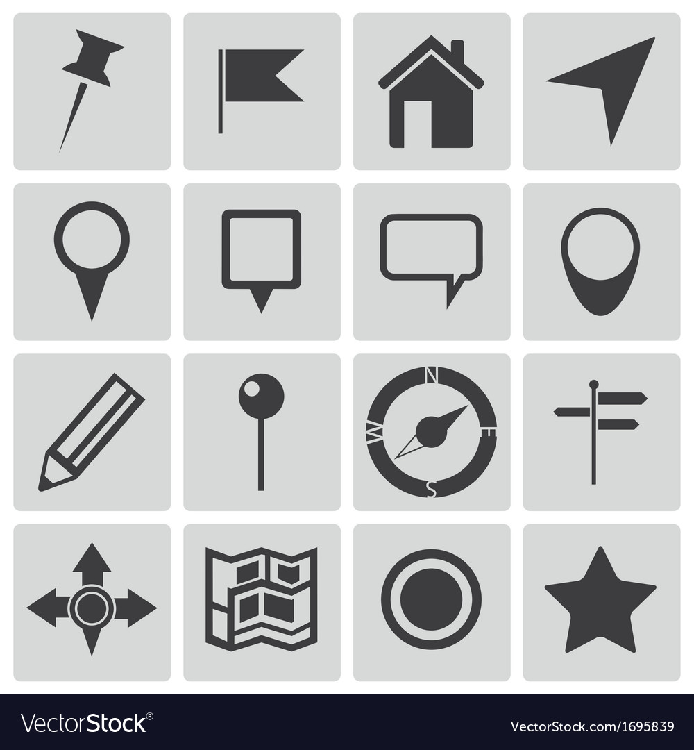 Black map icons set vector | Price: 1 Credit (USD $1)