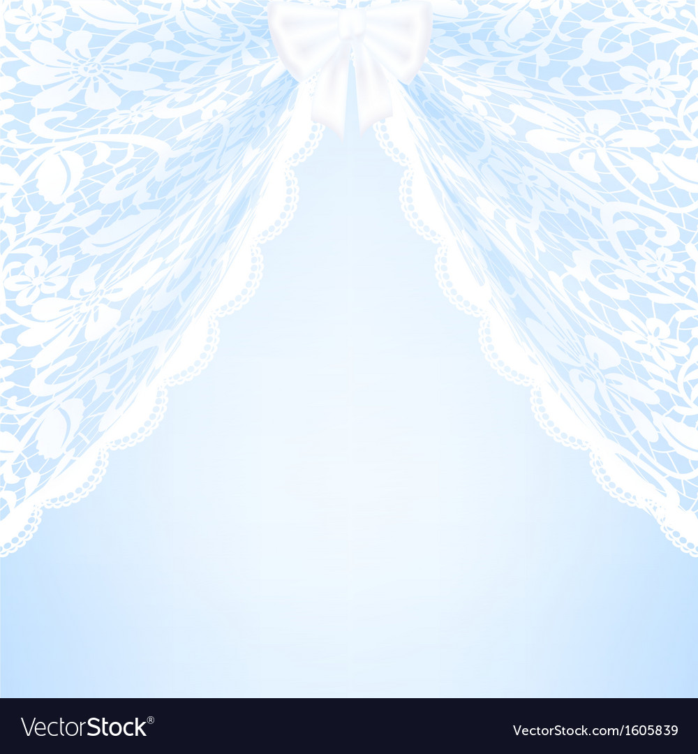Blue bacground with lace curtains and bow vector | Price: 1 Credit (USD $1)