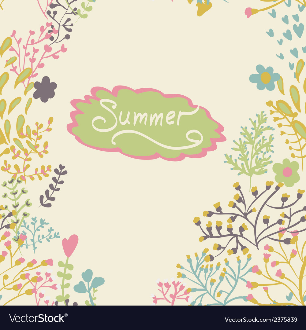 Border with abstract hand-drawn plants vector | Price: 1 Credit (USD $1)