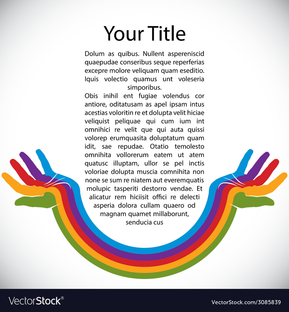 Design background with rainbow painted hands vector | Price: 1 Credit (USD $1)