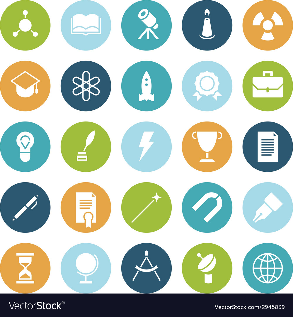 Flat design icons for education and science vector | Price: 1 Credit (USD $1)
