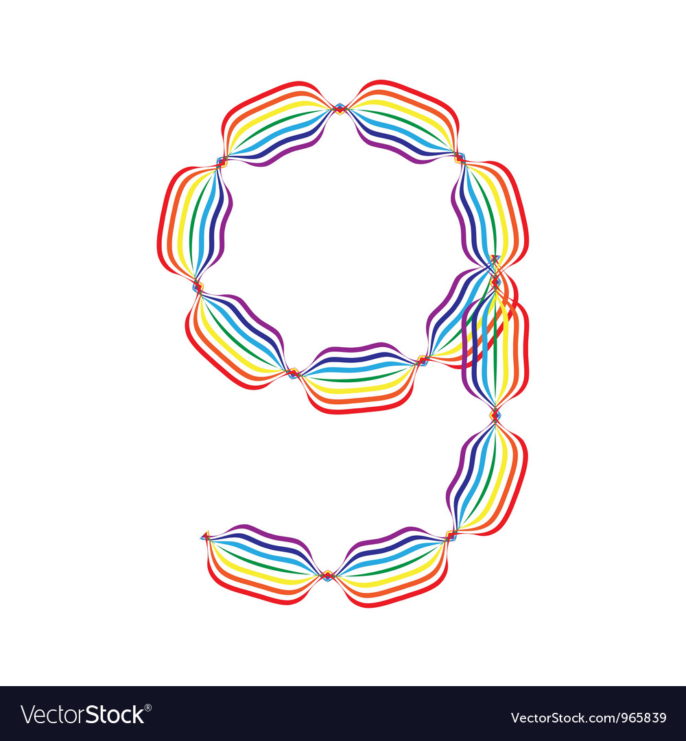 Number 9 made in rainbow colors vector | Price: 1 Credit (USD $1)