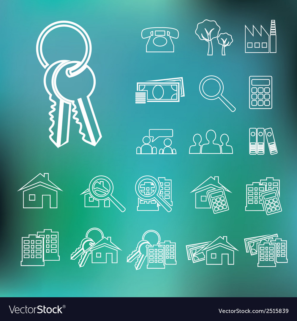 Real estate outline icons vector | Price: 1 Credit (USD $1)