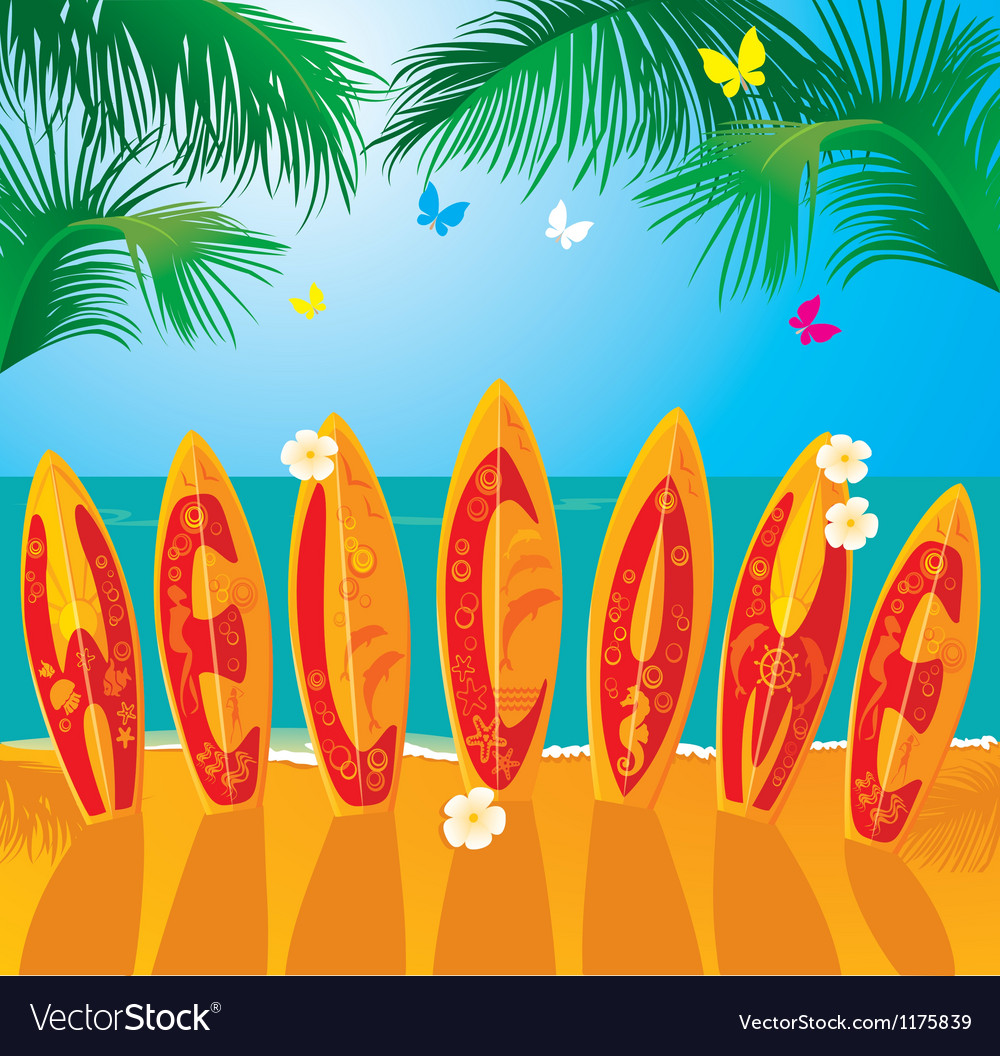 Summer holiday card - surf boards vector | Price: 1 Credit (USD $1)