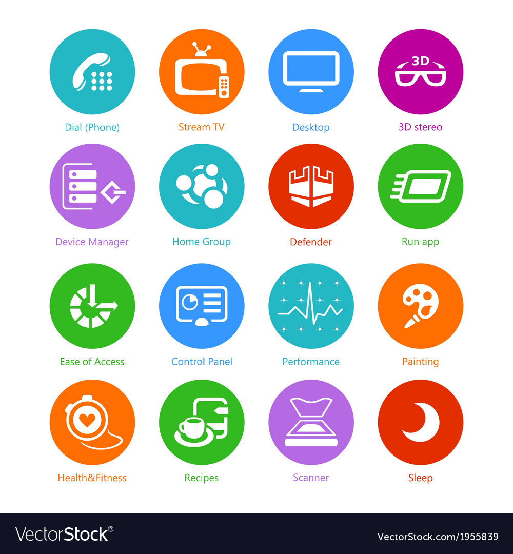 System flat icons - set iv vector | Price: 1 Credit (USD $1)