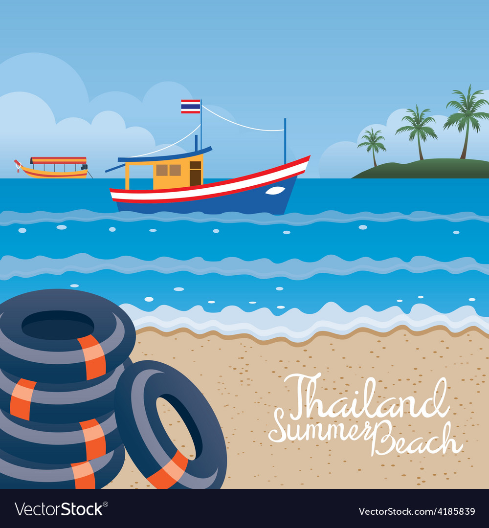 Thailand summer beach with swim ring boat island vector | Price: 3 Credit (USD $3)