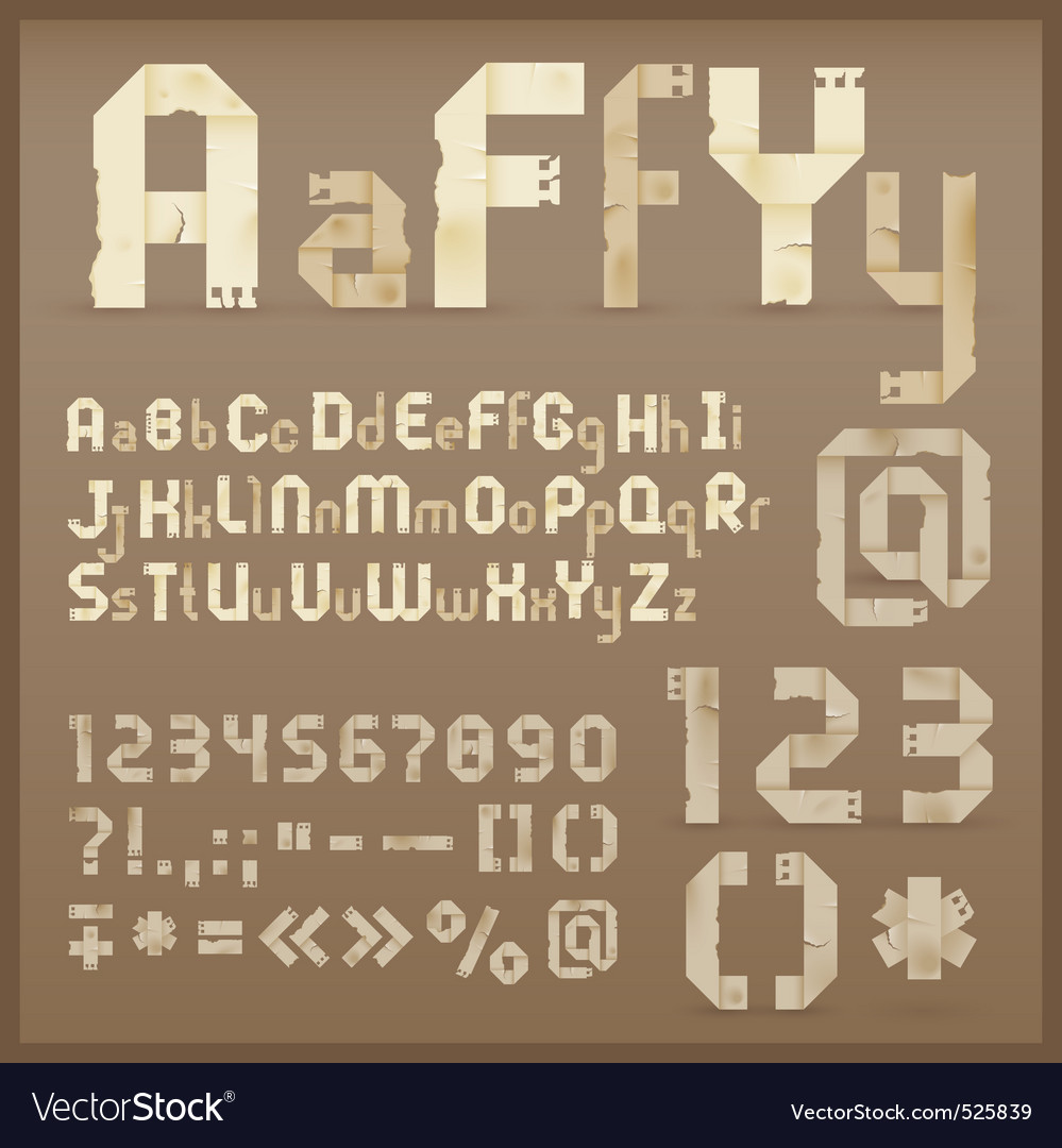 Vintage letter font vector | Price: 1 Credit (USD $1)
