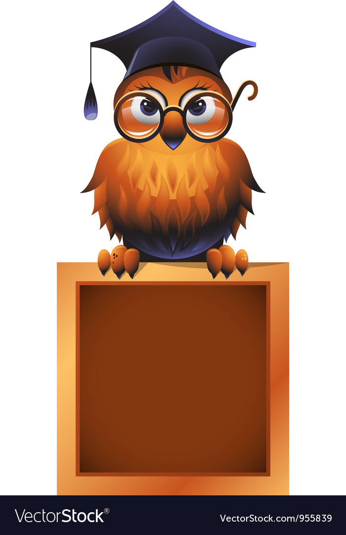 Wise owl atop a chalkboard vector | Price: 3 Credit (USD $3)