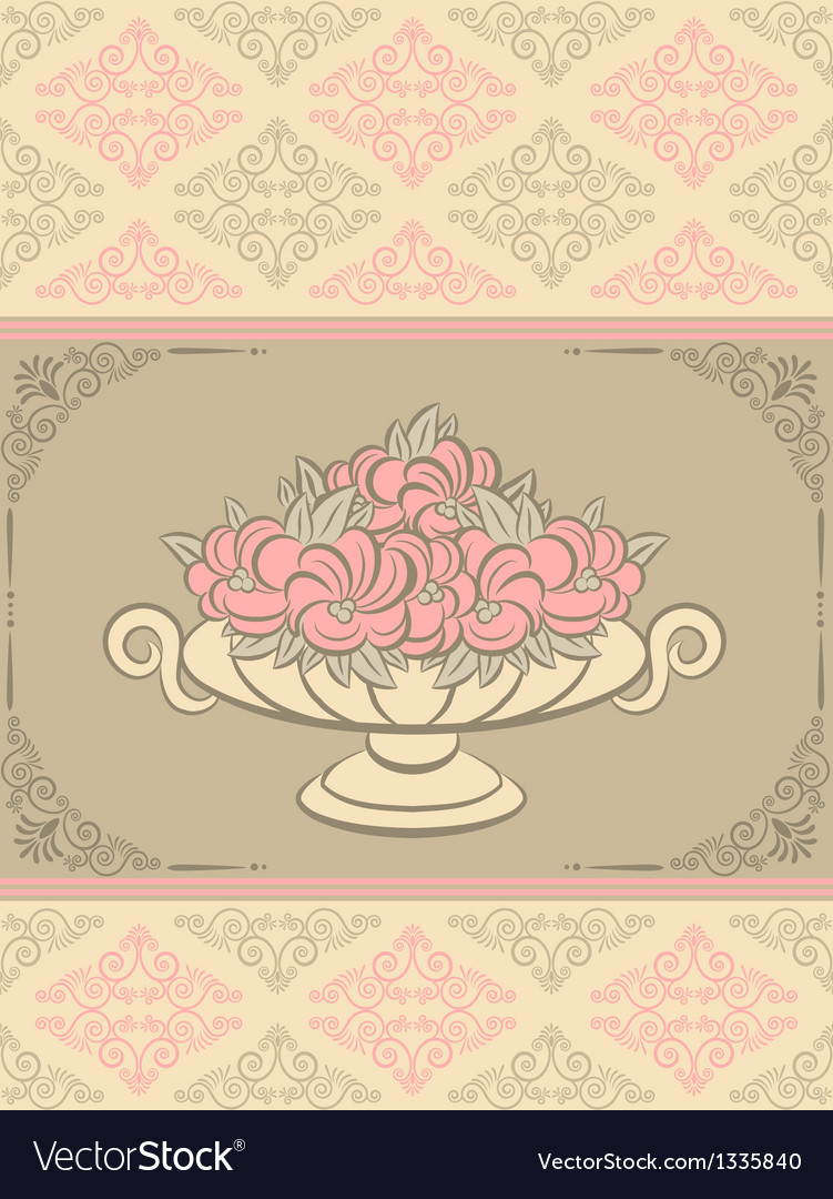 Bowl of flowers vector | Price: 1 Credit (USD $1)