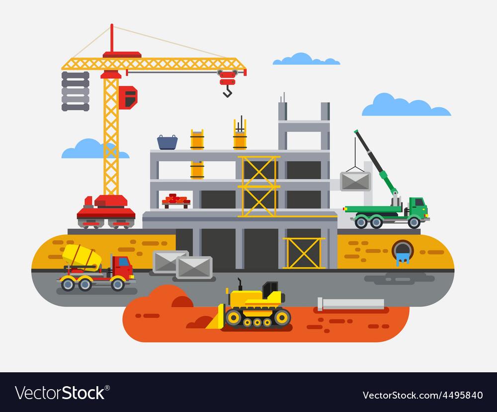 Building construction flat design concept vector | Price: 3 Credit (USD $3)