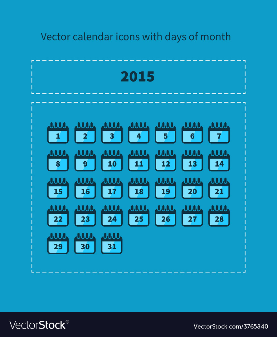 Calendar icons with days of month vector | Price: 1 Credit (USD $1)