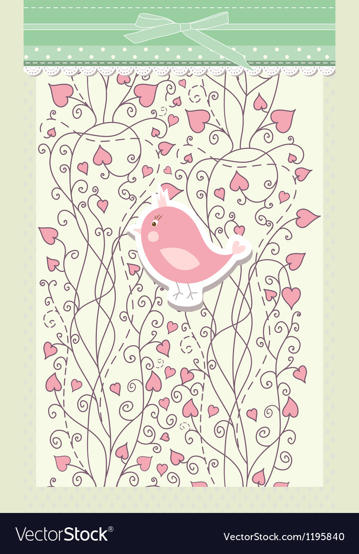 Card for valentine day with bird vector | Price: 1 Credit (USD $1)
