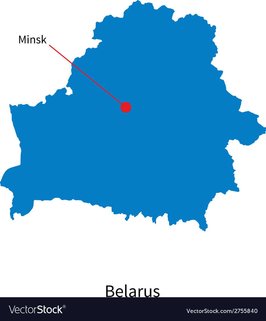 Detailed map of belarus and capital city minsk vector | Price: 1 Credit (USD $1)